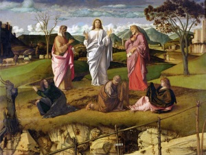 BEN112975 The Transfiguration, 1480 (oil on panel) by Bellini, Giovanni (c.1430-1516); 115x154 cm; Museo e Gallerie Nazionali di Capodimonte, Naples, Italy; Italian,  out of copyright